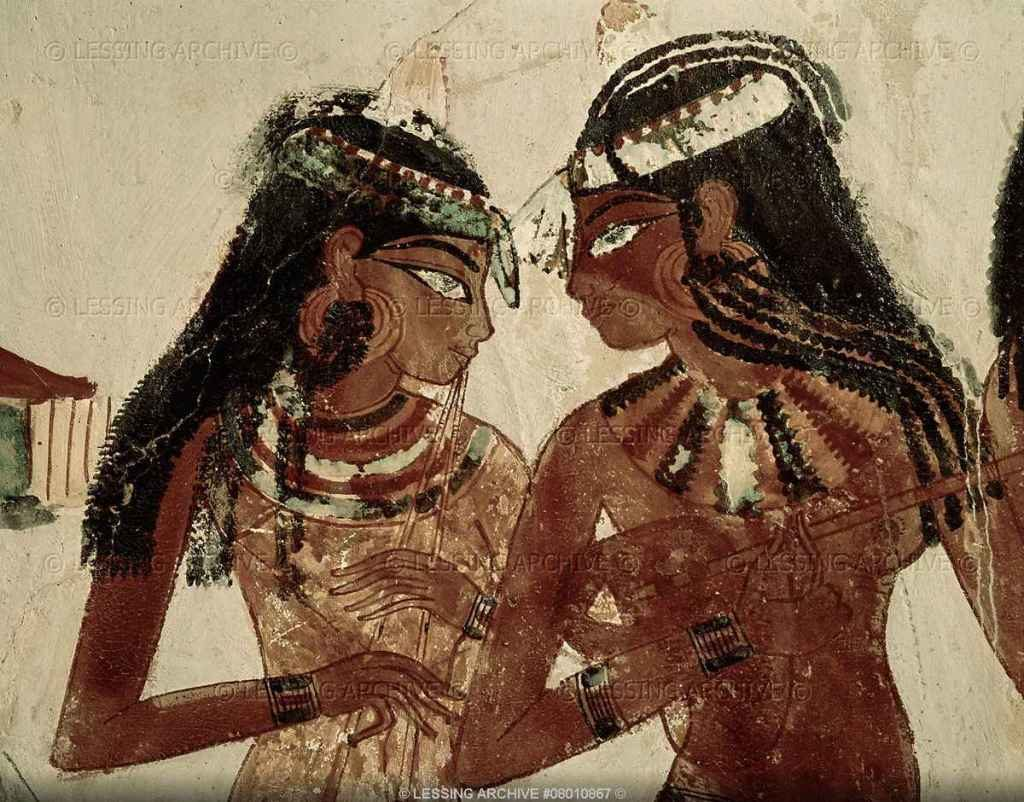 Musicians at a banquet. Mural from the tomb of Rekhmire, vizier under Thutmosis III (1490-1439 BCE) and Amenophis II (1439-1413 BCE). 18th Dynasty, New Kingdom, Egypt.